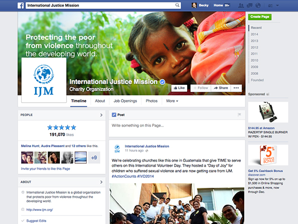 INTERNATIONAL JUSTICE MISSION FACEBOOK