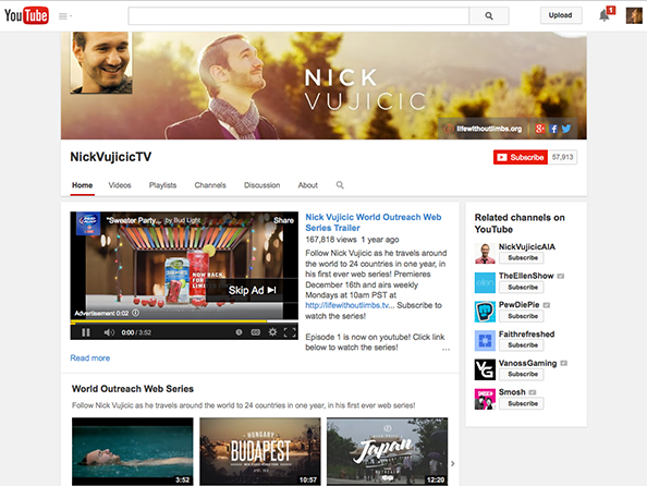 NICK VUJICIC YOUTUBE